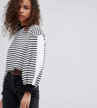 Kubban Petite Balloon Sleeve Striped Cropped Sweatshirt