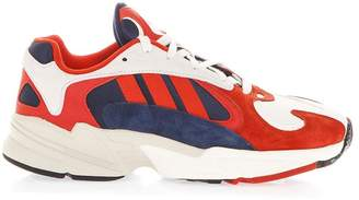 adidas White & Red Yung 1 Sneakers In Mesh & Nubuck