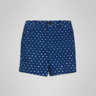 Burberry Spot Print Cotton Blend Shorts , Size: 18M, Blue