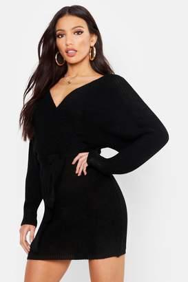 boohoo Wrap Knitted Dress