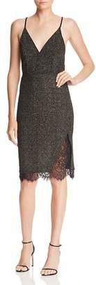 J.o.a. Metallic Lace-Trimmed Knit Dress