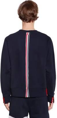 Thom Browne Cotton Jersey Sweatshirt W/ Knit Stripe