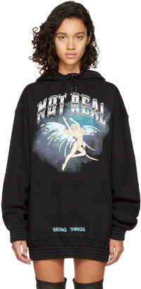 Off-White Black 'Not Real' Angel Hoodie $525 thestylecure.com