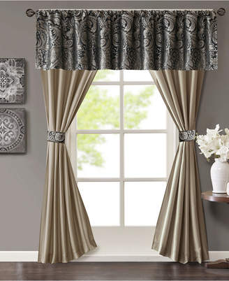 Madison Park Aubrey 5-Pc. Jacquard Faux-Silk Rod Pocket Window Treatment Set