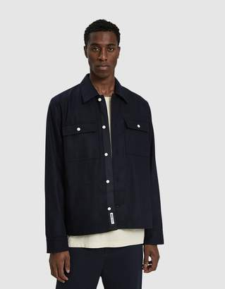 Wood Wood Franco Twill Shirt Jacket in Navy