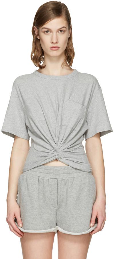 Alexander WangT by Alexander Wang Grey Front Twist T-Shirt