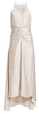 Halston Women's Ruched Satin Halter High-Low Gown