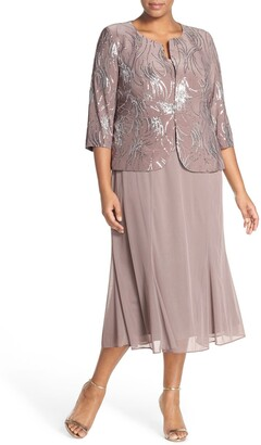 Alex Evenings Sequin Mock Two-Piece Dress with Jacket