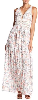 N. Tassels Lace Crochet Trim Floral Maxi Dress