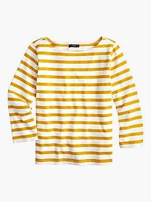 J.Crew Structured Stripe Cotton T-Shirt, Rich Gold/Ivory