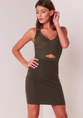 d269125563932 Missy Empire Missyempire Olga Khaki Cut Out Ribbed Bandage Dress