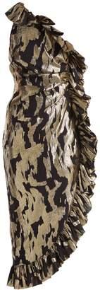 ATTICO One-shoulder ruffle-trimmed silk-blend dress