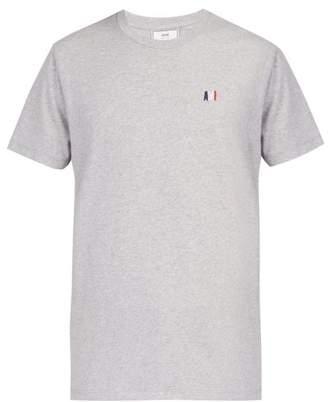Ami Logo Embroidered Cotton T Shirt - Mens - Grey