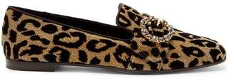 Dolce & Gabbana Crystal And Leopard Print Jacquard Loafers - Womens - Leopard