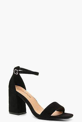 boohoo NEW Womens Extra Wide Fit Square Toe Block Heels in