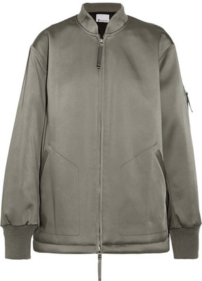 T by Alexander Wang - Oversized Satin Bomber Jacket - Gray green $495 thestylecure.com