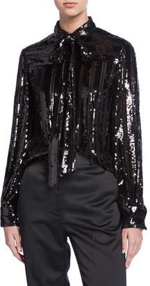 Sally LaPointe Striped Sequin Tie-Neck Blouse