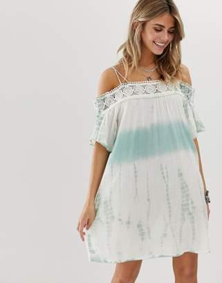 En Creme En CrMe bardot swing dress in tie dye with lace trim detail