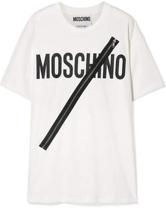 Moschino Zip-embellished Printed Cotton-jersey T-shirt - White