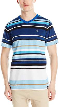 Southpole Men's Stripe V-Neck Tee with Pin Engineered Irregular Stripes