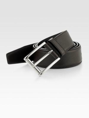 Prada Etched Saffiano Leather Belt