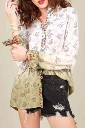 POL Dip Dyed Floral Shirt