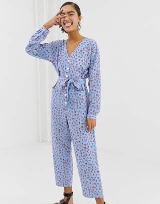 d324e2b37d1 Monki long sleeve jumpsuit in heart print in light blue