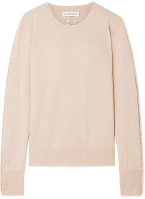 Altuzarra Fillmore Cable Knit-trimmed Cashmere Sweater - Beige
