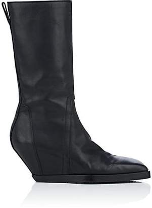 Rick Owens Men's Wedge-Heel Leather Boots - Black
