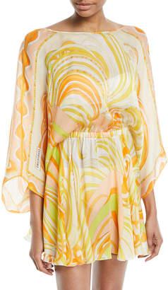 Emilio Pucci Baia Printed Silk Chiffon Mini Dress with Back Tie