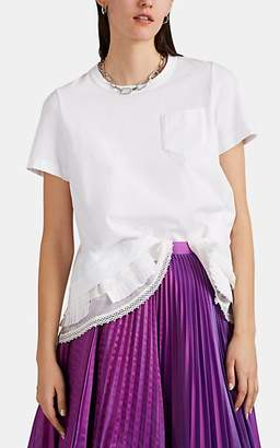 Sacai Women's Embellished-Hem Cotton T-Shirt - White