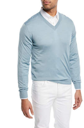 Brioni Wool-Blend V-Neck Sweater