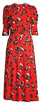 Derek Lam Women's Puff-Sleeve Floral Midi Dress