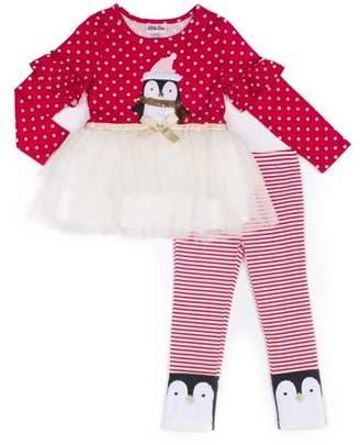 Little Lass Christmas Long Sleeve Tulle Skirt Tunic Dress & Leggings, 2pc Outfit Set (Baby Girls & Toddler Girls)