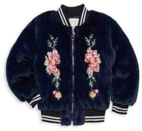 Hannah Banana Little Girl's& Girl's Floral Faux Fur Bomber Jacket