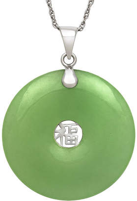 FINE JEWELRY Dyed Green Jade Sterling Silver Pendant Necklace