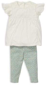 Ralph Lauren Baby Girl's Two-Piece Lace-Trimmed Top& Printed Leggings Set