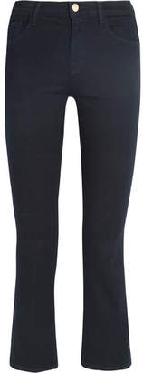 J Brand - Selena Cropped Mid-rise Flared Jeans - Dark denim $200 thestylecure.com