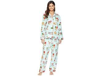 The Cat's Pajamas Cafe Au Lait Flannel Pajama Set Women's Pajama Sets