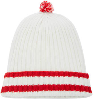 Prada Striped Ribbed-Knit Wool-Cashmere Pom Pom Beanie