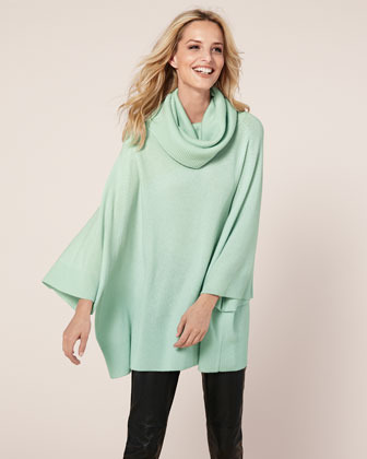 Neiman Marcus Crunched Cowl-Neck Cashmere Tunic