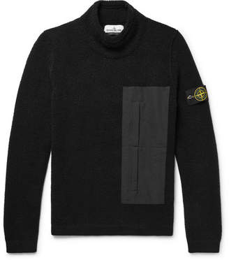 Stone Island Shell-Trimmed Wool-Blend Fleece Sweater