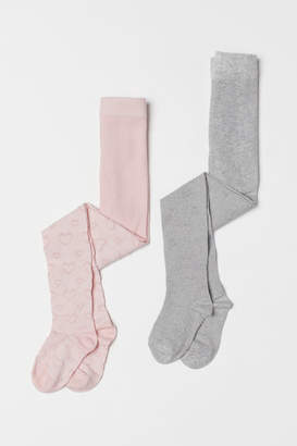H&M 2-pack Patterned Tights - Pink