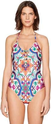 LaBlanca La Blanca Women's Lattice Front Halter One Piece Swimsuit, White/Blue/Orange/Plaza De Espana Print