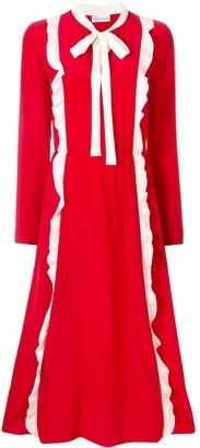 RED Valentino contrast ruffles midi dress