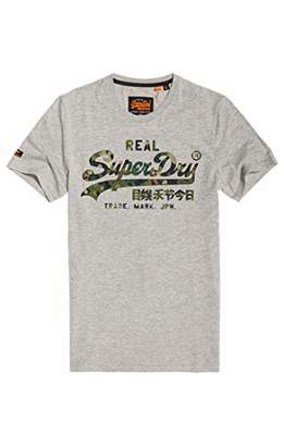 3347a56b Superdry Men's Vintage Logo Layered Camo Tee T-Shirt, (Grey Marl 07Q)