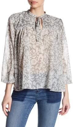 Lucky Brand Beaded Floral Print Top