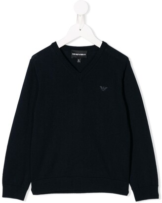 Emporio Armani Kids logo long-sleeve sweater