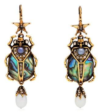 Alexander McQueen Abalon Scarab Shell And Faux Pearl Drop Earrings - Womens - Blue