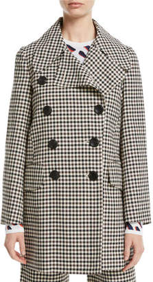 Derek Lam Double-Breasted Gingham Pea Coat